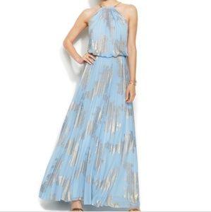 Xscape Blue & Gold Pleated Blouson Maxi Dress